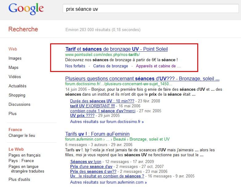 exemple résultat google