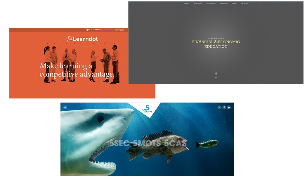 Exemples de pages d'accueil