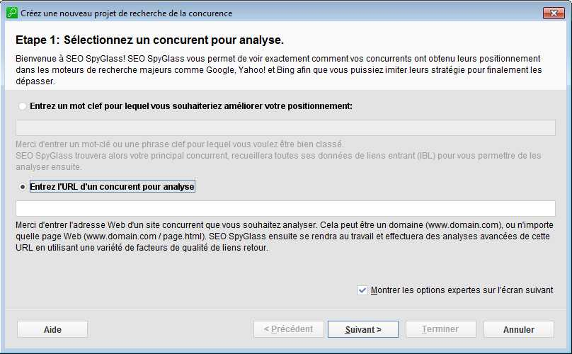 interface de création de projet sous SpyGlass