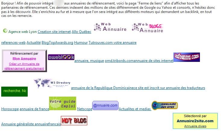 Exemple de fermes de liens, tous les hyper-textes sont dispachés sur la page un peu au hazard.