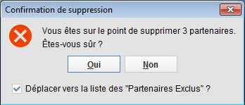 Boite de dialogue condirmation suppression