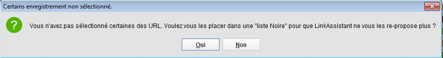 Blacklister des sites dans linkassistant